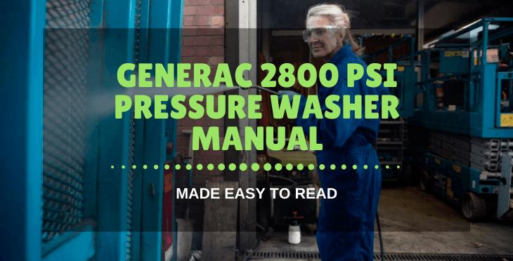 generac 2800 psi pressure washer manual