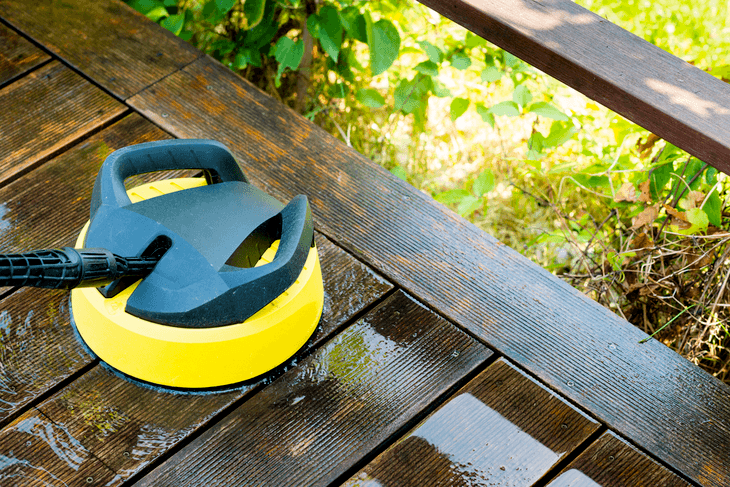 For wooden decks, use a surface cleaner suitable for pressure washers with 2000 to 2500 psi. This is because high water pressure can leave mark on the wooden surface and may eventually damage it